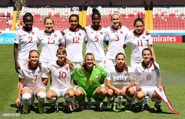 The team of Canada line up before the FIFA U17 Women's World Cup 2014 quarter final match between Venezuela and Canada at Estadio Nacional on March...