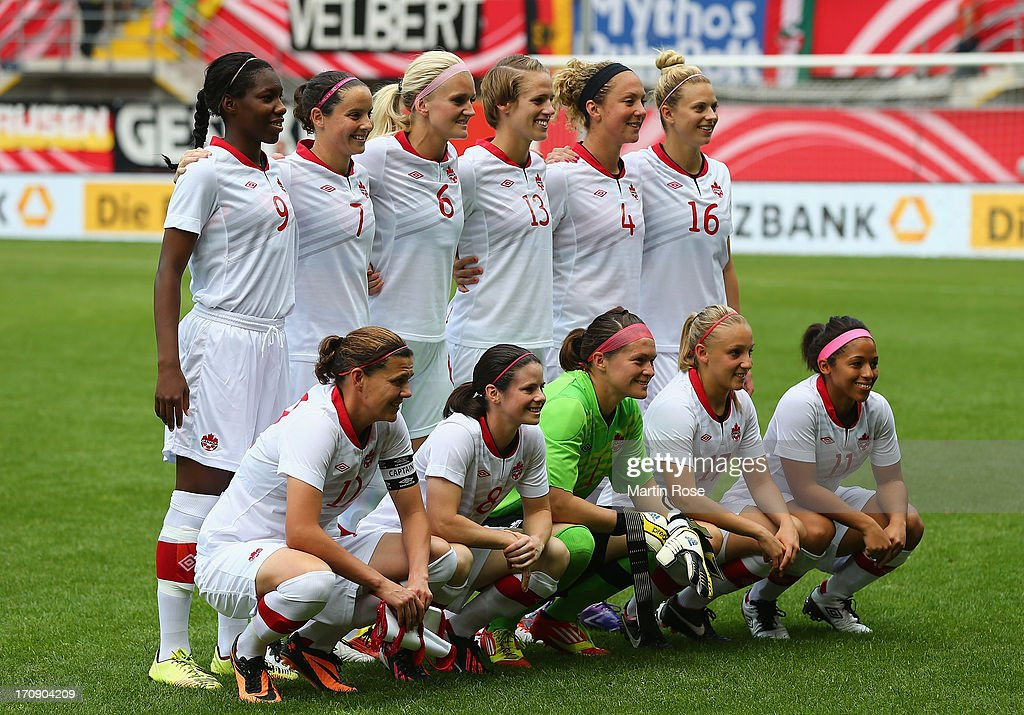 The team of Canada lines up before the Women's International Friendly match between Germany and Canada at Benteler Arena on June 19, 2013 in Paderborn, Germany.