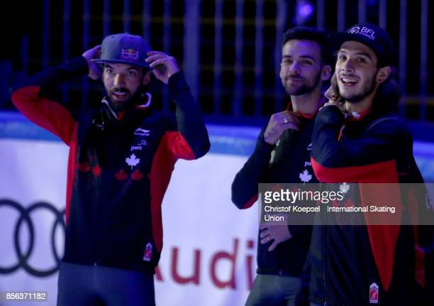 The team of Canada reacts after winning the men 5000m relay final A during the Audi ISU World Cup Short Track Speed Skating at Bok Hall on October 1...