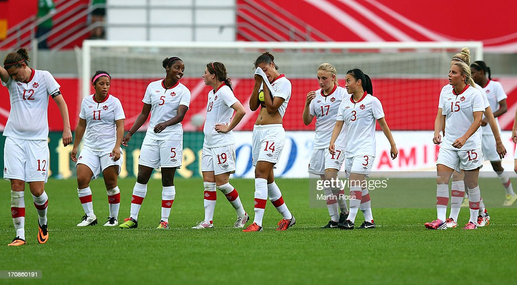 The team of Canada walk off dejected after the Women's International Friendly match between Germany and Canada at Benteler Arena on June 19, 2013 in Paderborn, Germany.