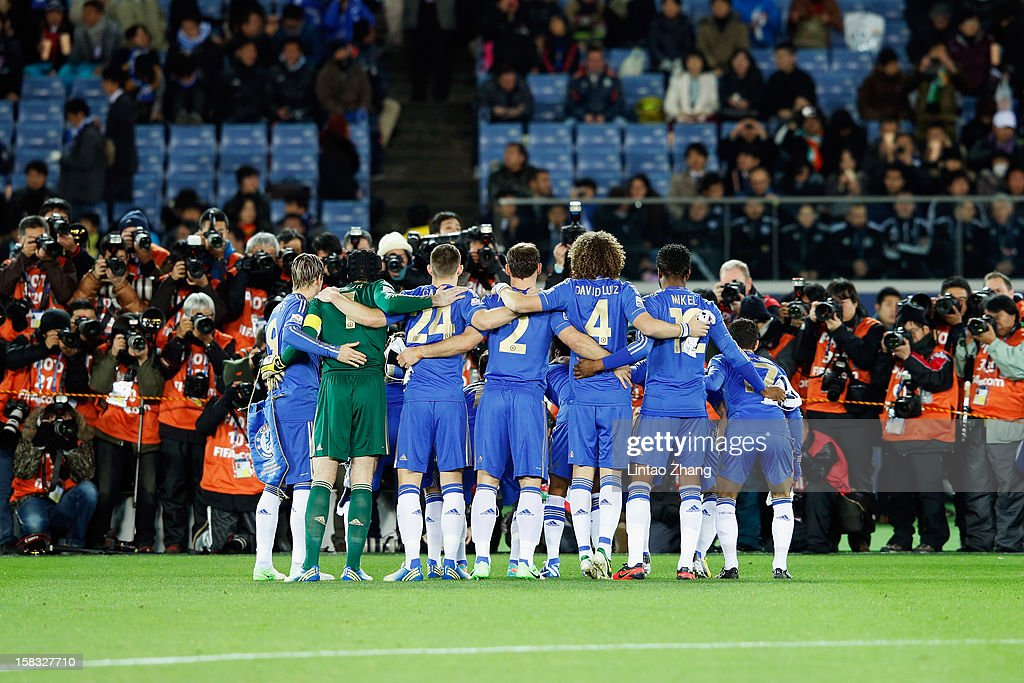 The team of Chelsea lines up for the team photo before the FIFA Club World Cup Semi Final match between CF Monterrey and Chelsea at International Stadium Yokohama on December 13, 2012 in Yokohama, Japan.