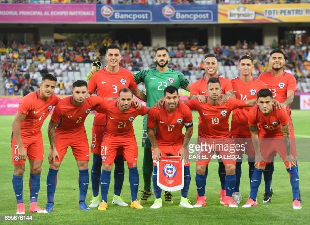 The team of Chile poses for a team photo ahead their international friendly football match between Romania and Chile in Cluj Napoca Romania on June...