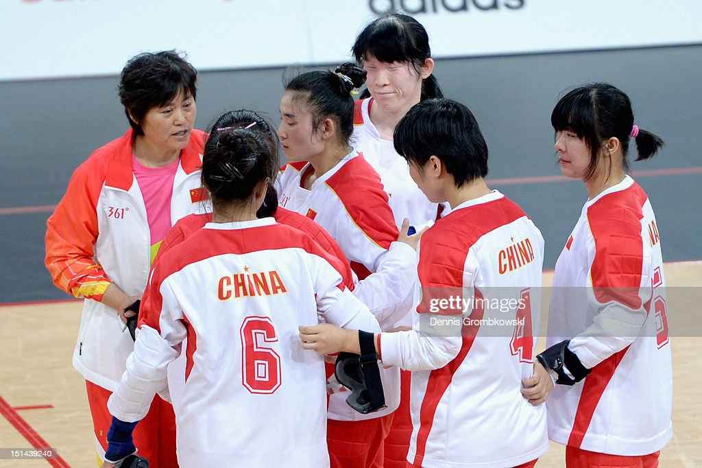The team of China reacts after winning the silver in the Women's Team Goalball competition on day 9 of the London 2012 Paralympic Games at The Copper Box on September 7, 2012 in London, England.