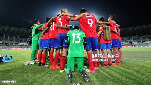 The team of Costa Rica pray in a circle after losing the FIFA U17 World Cup India 2017 group C match between Costa Rica and Iran at Pandit Jawaharlal...