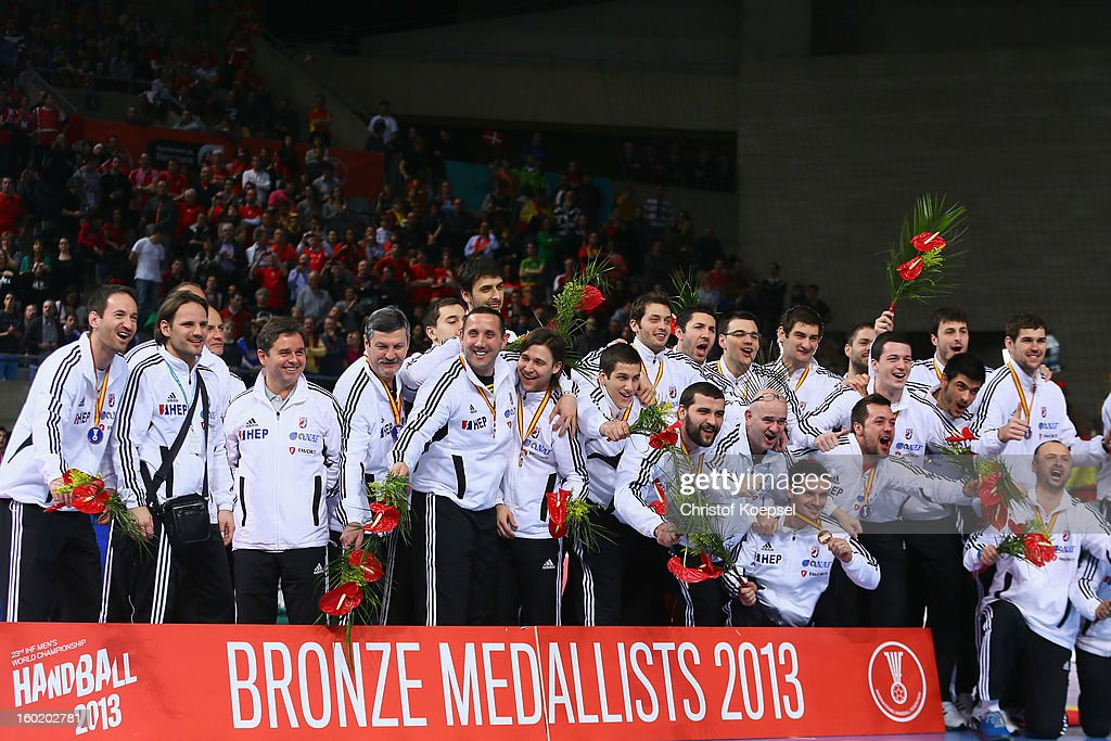 The team of Croatia celebrates their third place on the podium after the Men's Handball World Championship 2013 final match between Spain and Denmark at Palau Sant Jordi on January 27, 2013 in Barcelona, Spain.