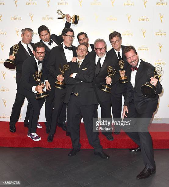 The team of 'Deadliest Catch' pose in the press room during the 2015 Creative Arts Emmy Awards at Microsoft Theater on September 12 2015 in Los...