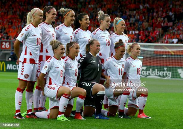 The team of Denmark poses prior to the UEFA Women's Euro 2017 Group A match between Netherlands and Denmark at Sparta Stadion on July 20 2017 in...
