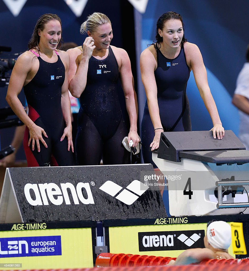 The team of Denmark reacts after winning the gold medal in the women's 4x100m medley final during day 12 of the 32nd LEN European Swimming Championships 2014 at Europa-Sportpark on August 24, 2014 in Berlin, Germany.
