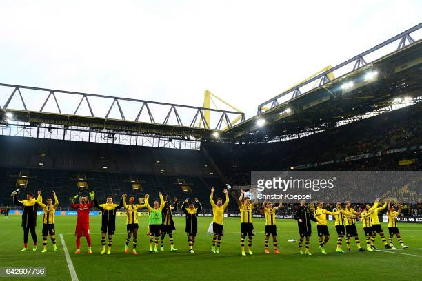 The team of Dortmund celebrates after the Bundesliga match between Borussia Dortmund and VfL Wolfsburg at Signal Iduna Park on February 18 2017 in...