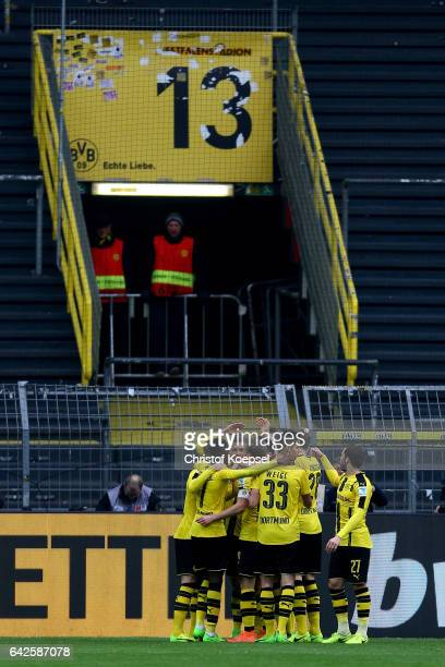 The team of Dortmund celebrates the first goal during the Bundesliga match between Borussia Dortmund and VfL Wolfsburg at Signal Iduna Park on...