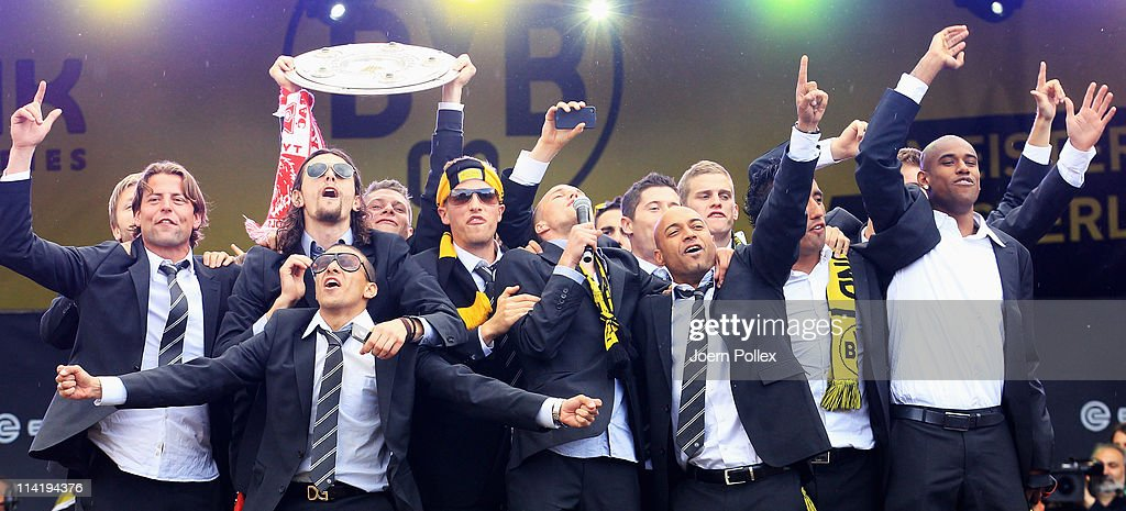 The team of Dortmund celebrates with the fans winning the German Championship at the Westfalenhalle on May 15, 2011 in Dortmund, Germany.