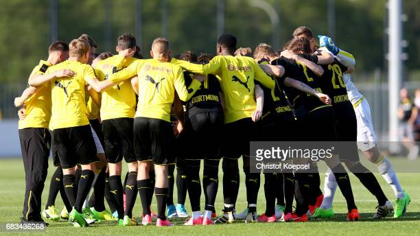 The team of Dortmund comes together prior to the U19 German Championship Semi Final second leg match between Borussia Dortmund and VfL Wolfsburg at...
