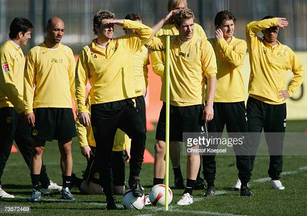 The team of Dortmund watch head coach Thomas Doll during the Borussia Dortmund training session at the training ground on March 14 2007 in Dortmund...