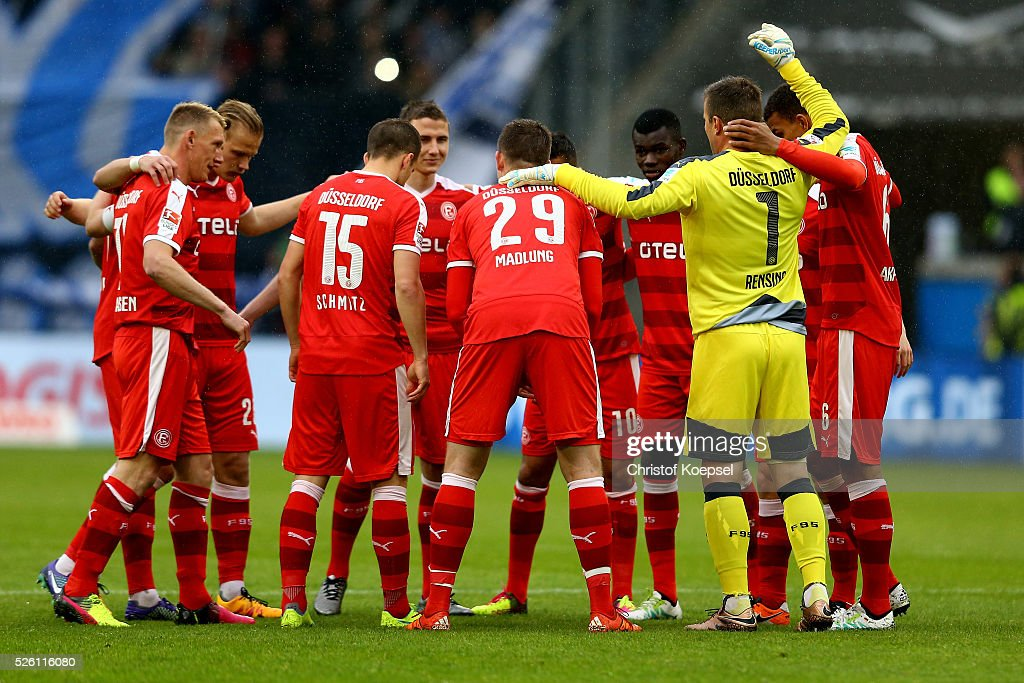 The team of Duesseldorf comes together prior to the 2. Bundesliga match between MSV Duisburg and Fortuna Duesseldorf at Schauinsland-Reisen-Arena on April 29, 2016 in Duisburg, Germany.