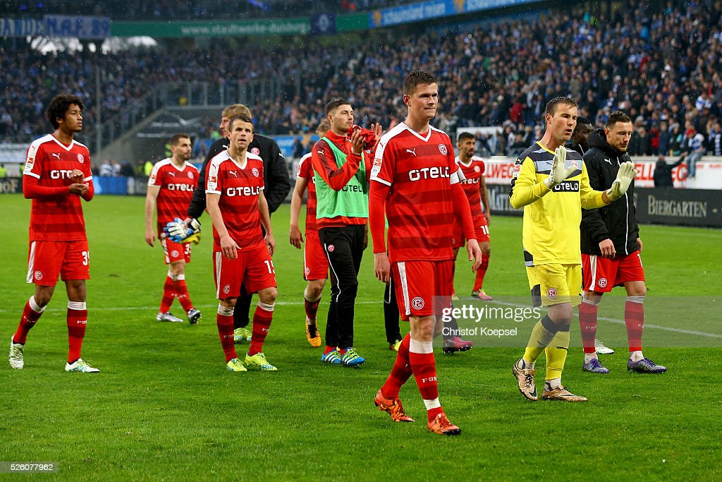 The team of Duesseldorf looks dejected after the 2. Bundesliga match between MSV Duisburg and Fortuna Duesseldorf at Schauinsland-Reisen-Arena on April 29, 2016 in Duisburg, Germany. The match between Duisburg and Duesseldorf ended 2-1.