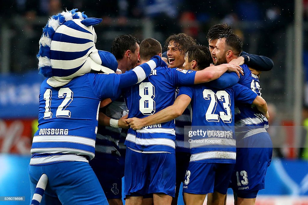 The team of Duisburg celebrates after the 2. Bundesliga match between MSV Duisburg and Fortuna Duesseldorf at Schauinsland-Reisen-Arena on April 29, 2016 in Duisburg, Germany. The match between Duisburg and Duesseldorf ended 2-1.