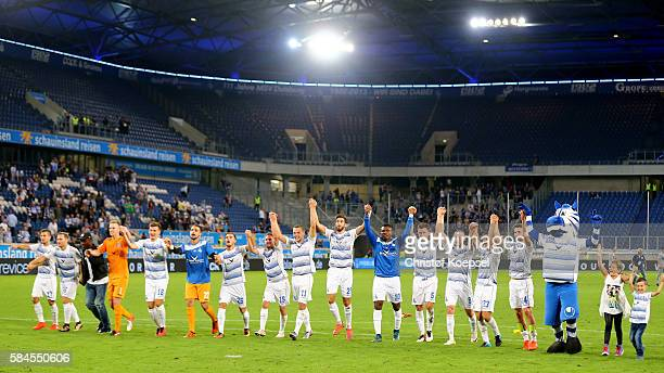 The team of Duisburg celebrates after winning 10 the Third League match between MSV Duisburg and SC Paderborn at SchauinslandReisenArena on July 29...