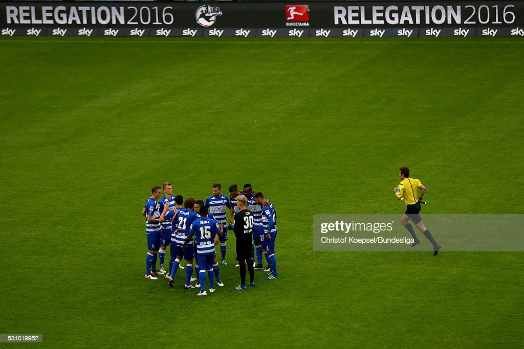 The team of Duisburg comes together prior to the Second Bundesliga play-off second leg match between MSV Duisburg and Wuerzburger Kickers at Schauinsland-Reisen-Arena on May 24, 2016 in Duisburg, Germany.