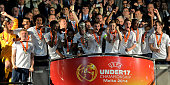 The team of England celebrates with the trophy after winning the UEFA Under17 European Championship 2014 final match against Netherlands at Ta' Qali...