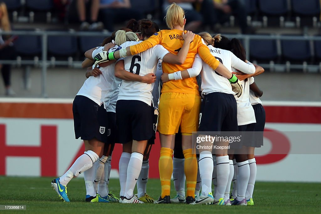 The team of England comes together prior to the UEFA Women's EURO 2013 Group C match between England and Spain at Linkoping Arena on July 12, 2013 in Linkoping, Sweden.
