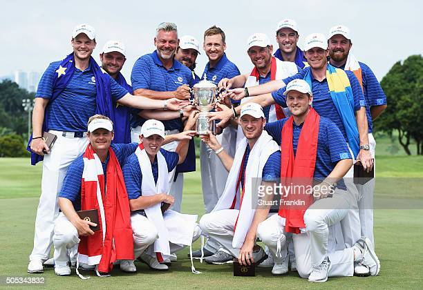 The team of Europe together with captain Darren Clarke celebrate with the trophy after winning the EurAsia Cup presented by DRBHICOM at Glenmarie GCC...