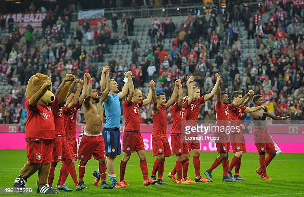 The team of FC Bayern Muenchen celebrates after the Bundesliga match between FC Bayern Muenchen and VfB Stuttgart at Allianz Arena on November 7 2015...