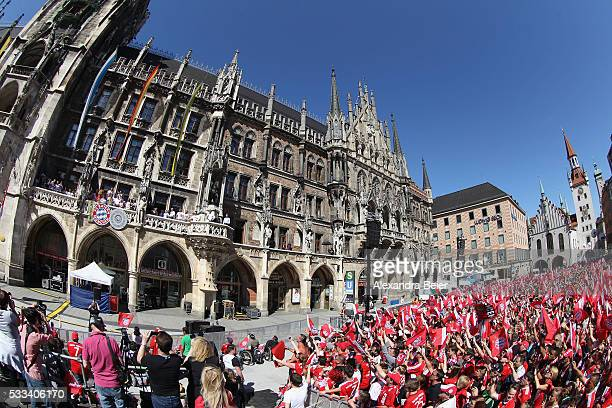 The team of FC Bayern Muenchen celebrates the team's German Cup and German Championship victory on the town hall balcony at Marienplatz on May 22...