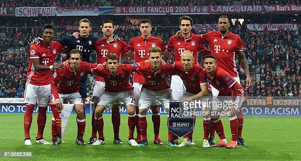 The team of FC Bayern Munich Bayern Munich's Austrian defender David Alaba Bayern Munich's goalkeeper Manuel Neuer Bayern Munich's Spanish midfielder...