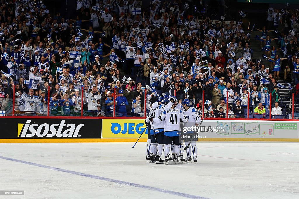 The team of Finland celebrate their 3rd goal during the IIHF World Championship group H match between Finland and France at Hartwall Areena on May 6, 2013 in Helsinki, Finland.