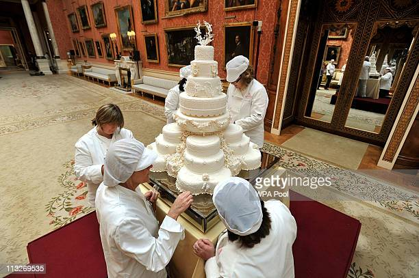 The team of Fiona Cairns Ltd of Leicestershire make the finishing touches to the Royal Wedding Cake made for Prince William and Catherine Middleton...