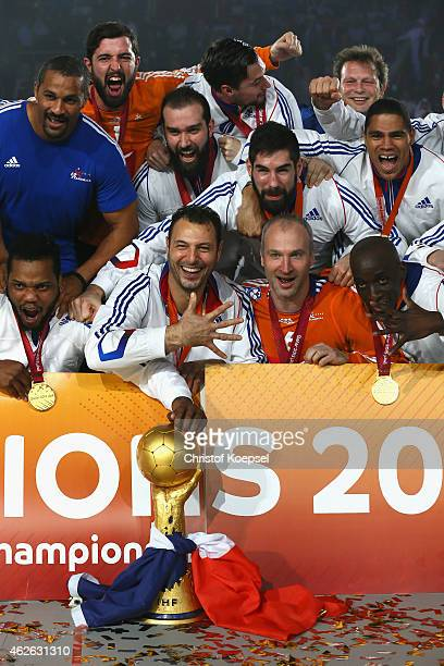 The team of France celebbrates on the podium after the final match between Qatar and France in the Men's Handball World Championship at Lusail...