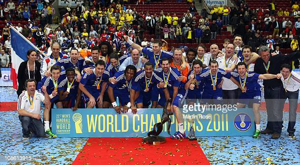 The team of France celebrate there gold medal after the Men's Handball World Championship final match between France and Danmark at Malmo Arena on...