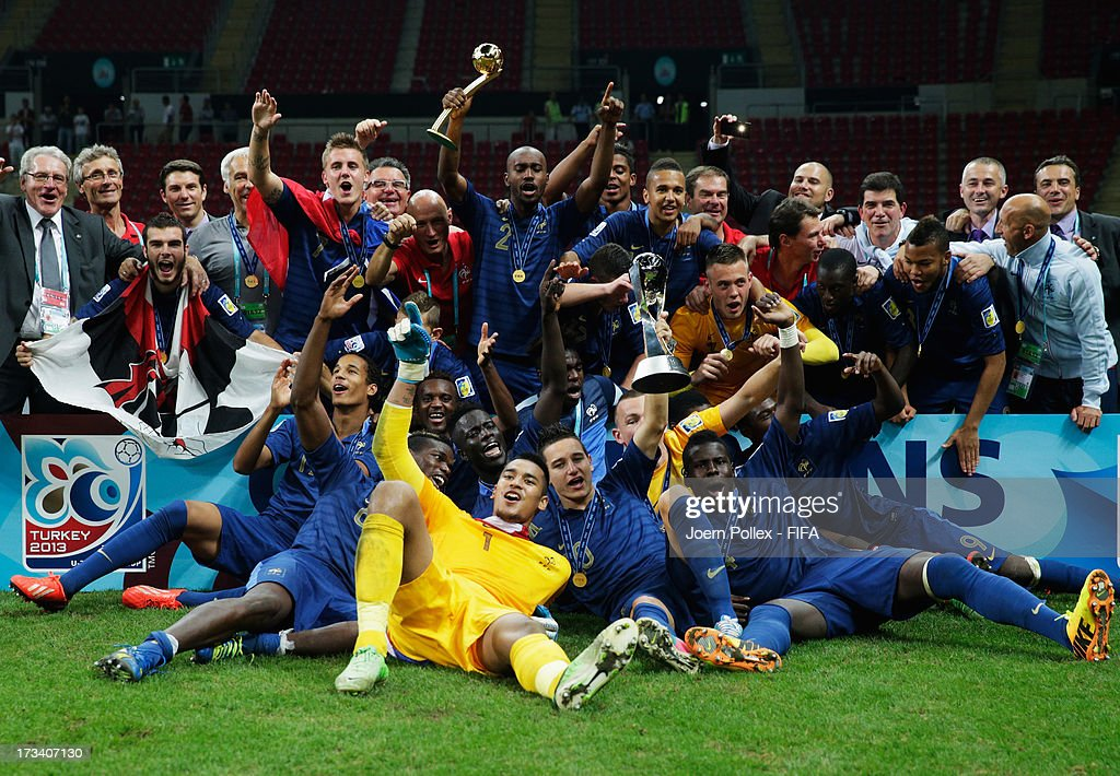 The team of France celebrates with the cup after winning the FIFA U-20 World Cup Final match between France and Uruguay at Ali Sami Yen Arena on July 13, 2013 in Istanbul, Turkey.