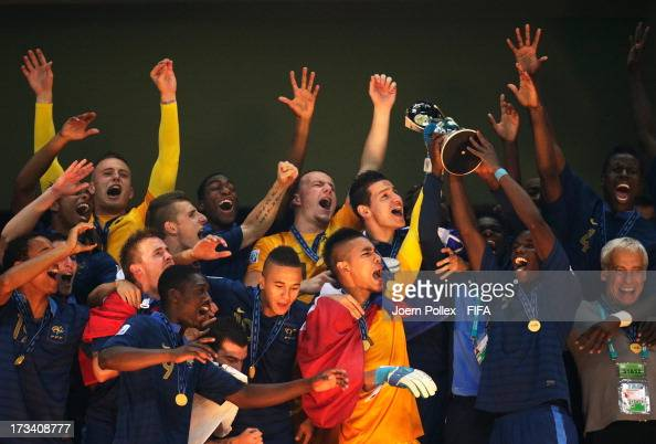 The team of France celebrates with the cup after winning the FIFA U20 World Cup Final match between France and Uruguay at Ali Sami Yen Arena on July...