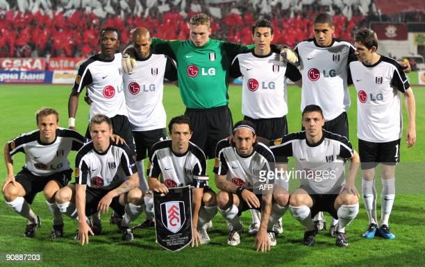 The team of Fulham pose for a team photo before their UEFA Europa League group E football match against CSKA Sofia at Vassil Levski stadium in Sofia...
