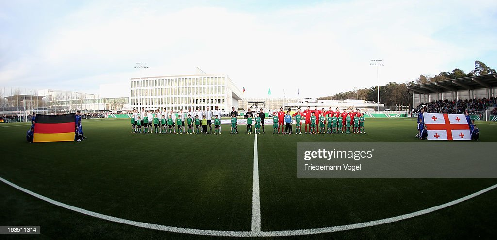 The team of Germany and Georgia lines up during the U17 International Friendly match between Germany and Georgia at Toennies-Arena on March 6, 2013 in Rheda-Wiedenbruck, Germany.