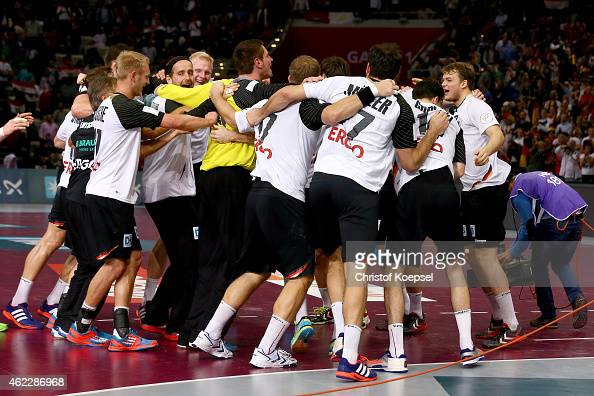 The team of Germany celebrate after the eight final match between Germany and Egypt at Lusail Multipurpose Hall on January 26 2015 in Doha Qatar The...
