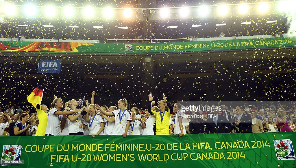 The team of Germany celebrate after winning the FIFA U-20 Women's World Cup 2014 final match between Nigeria and Germany at Olympic Stadium on August 24, 2014 in Montreal, Canada.