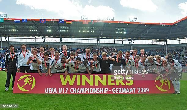 The team of Germany celebrate after winning the Uefa U17 European Championship Final between Netherlands and Germany at the Magdeburg Stadium on May...