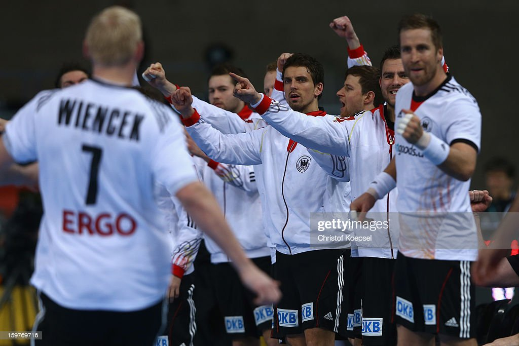 The team of Germany celebrates a goal of Patrick Wiencek of Germany (L) during the round of sixteen match between Germany and Macedonia at Palau Sant Jordi on January 20, 2013 in Barcelona, Spain.