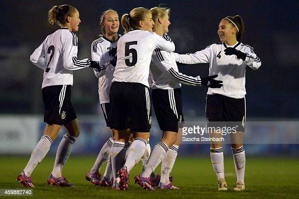 The team of Germany celebrates after scoring the fourth goal during the U15 Girl's international friendly match between Germany and Belgium at...