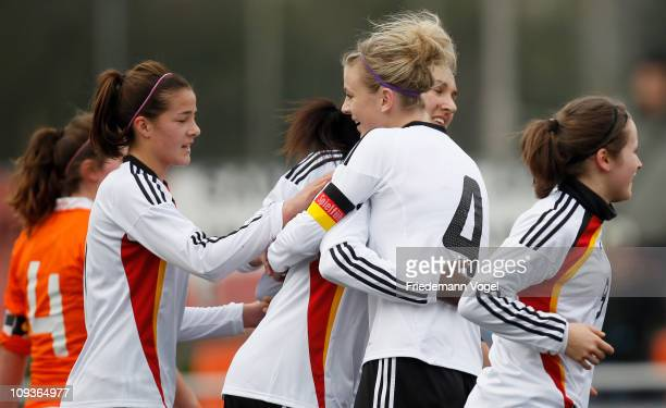 The team of Germany celebrates after scoring the second goal during the women's international friendly match between Germany and Netherlands on...