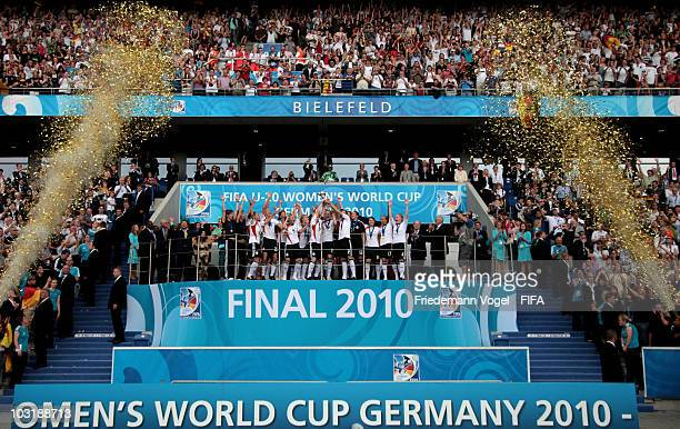 The team of Germany celebrates after winning the FIFA U20 Women's World Cup Final match between Germany and Nigeria at the FIFA U20 Women's World Cup...