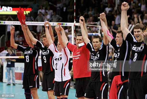 The team of Germany celebrates after winning the Men Beijing 2008 Olympic Games Qualification match between Germany and Spain at the ISS Dome on May...