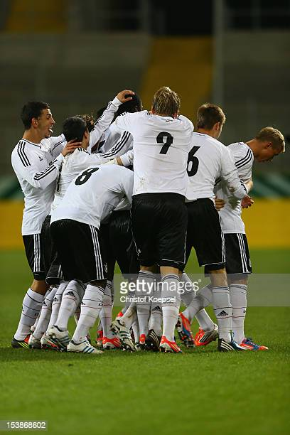 The team of Germany celebrates the second goal during the Under 20 International Friendly match between Germany and Italy at TivoliStadium on October...