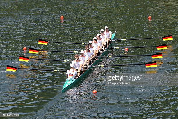 The team of Germany competes in the Men's Eight preliminary race during day 1 of the 2016 World Rowing Cup II at Rotsee on May 27 2016 in Lucerne...