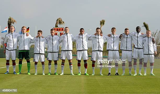 The team of Germany for the national anthems prior to the international friendly match between U18 Germany and U18 Netherlands on November 13 2014 in...