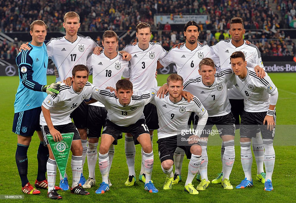 The team of Germany line up during the FIFA world Cup 2014 qualification match between Germany and Republic of Ireland at the Rheinenergy stadium on October 11, 2013 in Cologne, Germany.