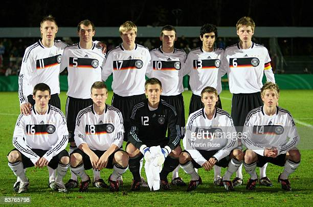 The team of Germany line up for a photo prior the U18 international friendly match between Germany and Lithuania at the Edmund Plambeck stadium on...
