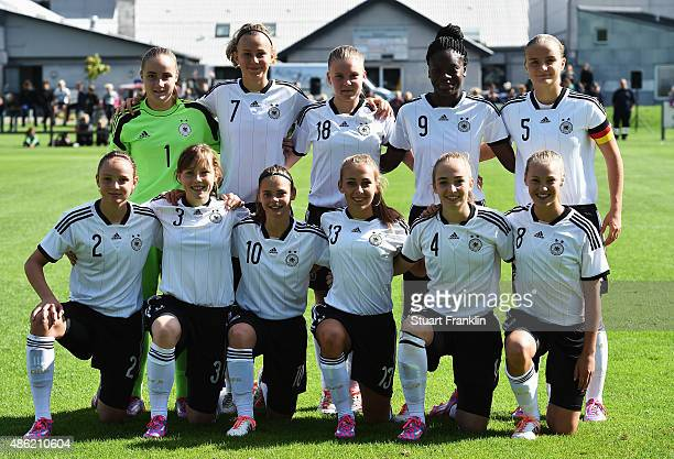 The team of Germany line up for a photograph during the International friendly match between U16 Girl's Denmark and U16 Girl's Germany on September 2...